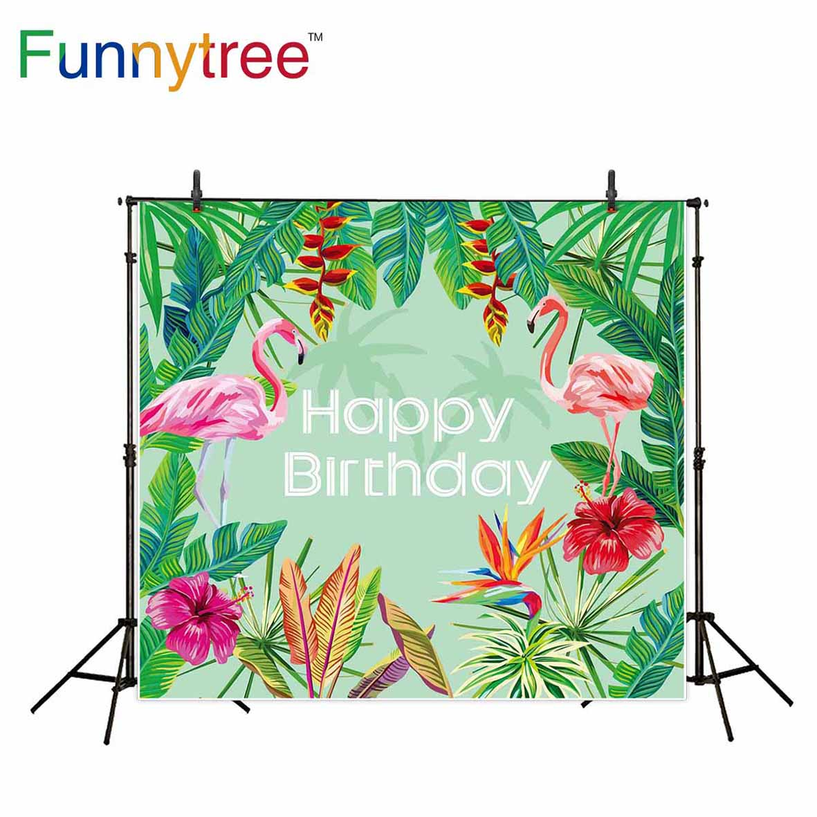 Funnytree studio backgrounds photography flamingo tropical leaves flower birthday professional backdrop photo prop photobooth