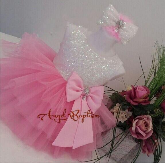 Jolie robe de fille de fleur rose sans manches blanc/ivoire sequin tulle enfant en bas âge costume de reconstitution historique enfants robe de princesse tenues tutu