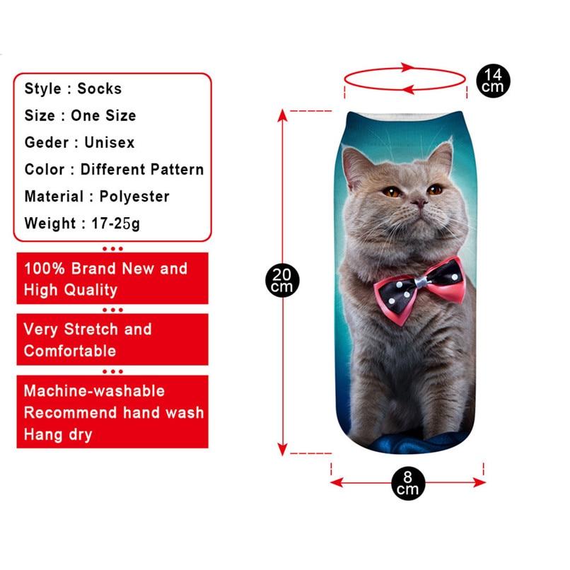 Unique design Cat 3D Printing Socks Cute Women Work Business Cotton Funny Sock Medium Sports Socks Comfortable #2s29 (11)