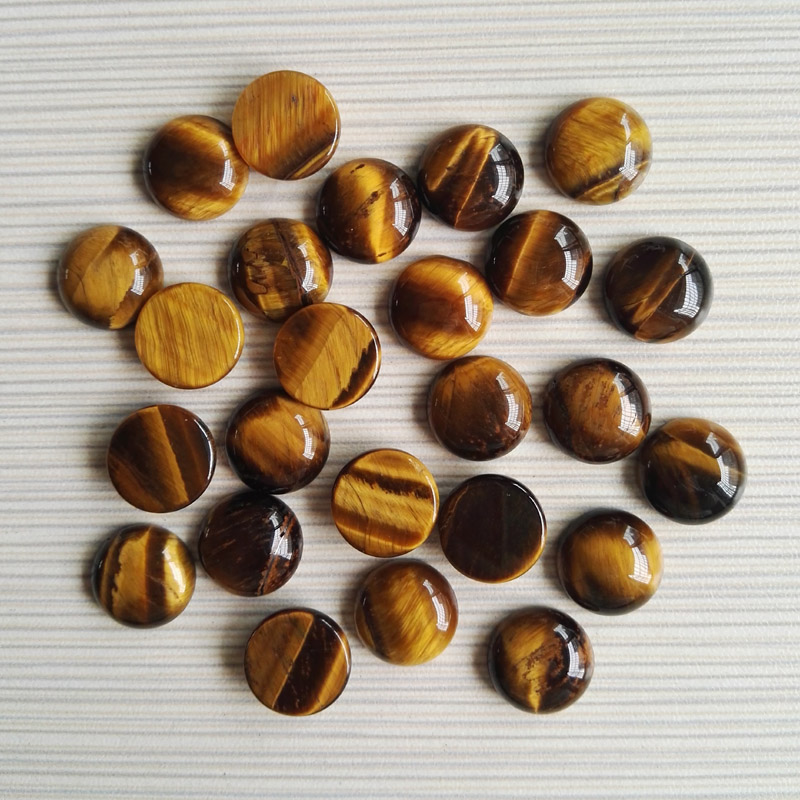 Wholesale 50pcs natural tiger eye stone beads round CAB CABOCHON stone beads size 14x14mm free shipping