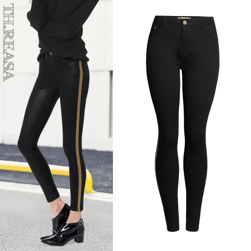 2018 Spring Fashion Sequined Side Stripe   Jeans   Women Europe America Denim Cotton Slim Push Up Black Skinny Pencil Pants Mujer