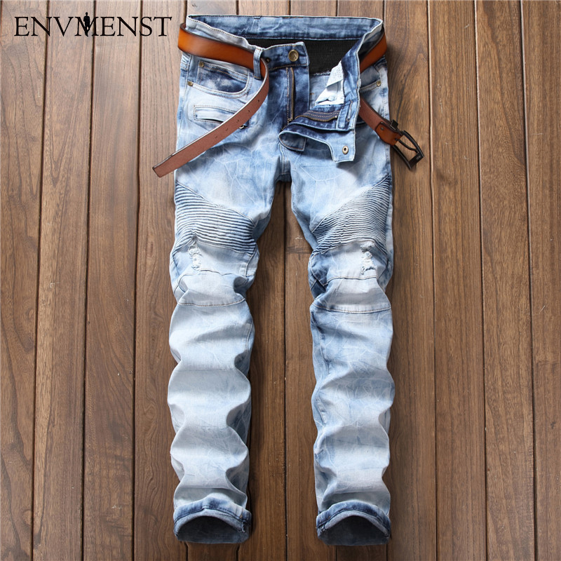 2017 Ripped Hip-hop Jeans For Men Fashion Swag Biker Skinny Jeans Light Blue Brand Motorcycle Denim Pants Snow Wash Mens Jeans
