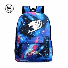 Fairy Tail Printing Women Backpack Anime School Bags Teenagers Girls Cartoon Travel Nylon Bag Mochila Galaxia