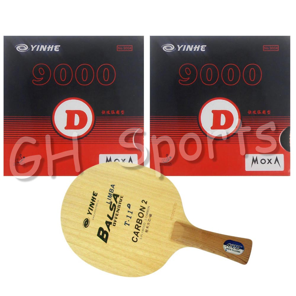 Pro Table Tennis Combo Racket: Galaxy YINHE T-11+ with 2x 9000D table tennis rubber for ping pong paddle yinhe table tennis balde ping pong racket dragon god national team 1986 dragon 8s limited racket alc