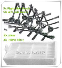 10 pieces(5x Right Side Brush +5x Left Side Brushes) + 2 srew and 3 pcs Hepa filter for Panda X500 ECOVACS Robot X500 X580 CR120