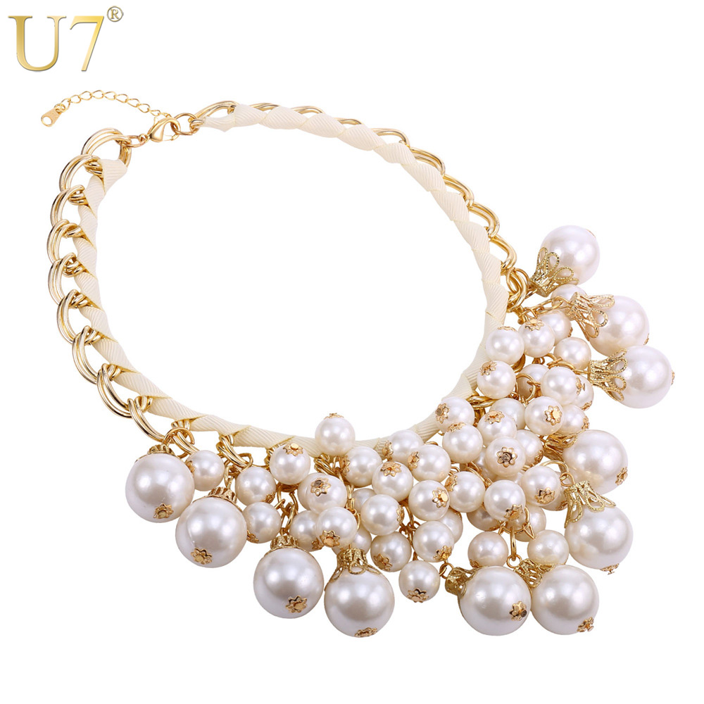 U7 Women Maxi Necklace Fashion Luxury Round White Black Simulated Pearl Big Statement Necklace Sale N532