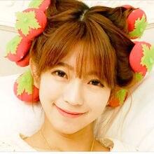 12pcs/set Cute Strawberry Sponge Ball Fashion Women Professional Twist Styling Hair Curler Lovely DIY Tools