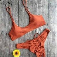 Vertvie Sexy Solid Bandage Women Bikinis Set Knot Spaghetti Strappy Bikinis Push Up Swimwear Brazilian Biquini
