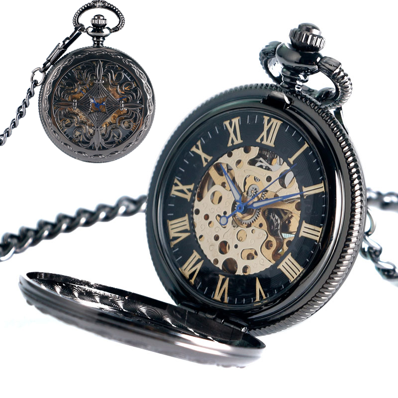 Antique Style Hollow Chinese Knot Pendant Self Winding Pocket Watch Roman Numerals Automatic Mechanical Skeleton Steampunk Gift