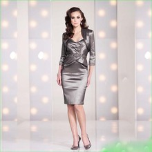 2015 Elegant Sweetheart Knee-length Mother of The Bride Dresses with Out Dress Short Women Evening Gown with jacket