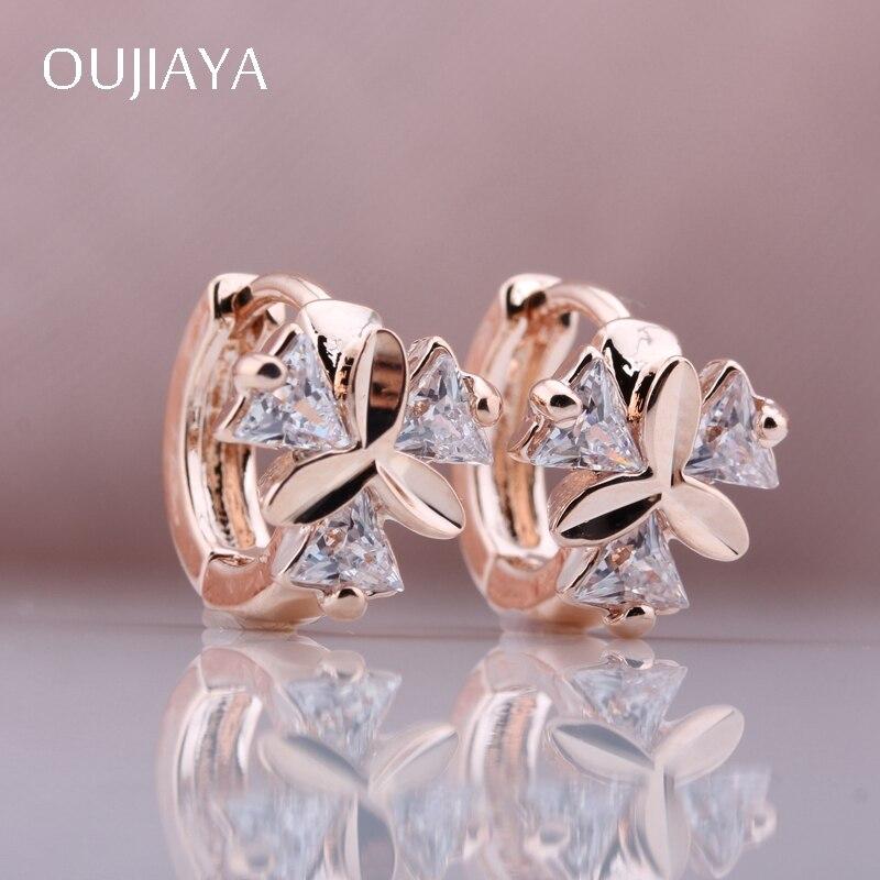 OUJIAYA 328 Anniversary New 585 Rose Gold Round  Women Earrings Natural Zircon Wedding Party Fine Jewelry Dangle Earrings A42