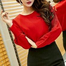 QA972 Сорочка femme твердые элегантный все матч белый красный шифон блузка женщины крючком выдалбливают верхней части рубашки