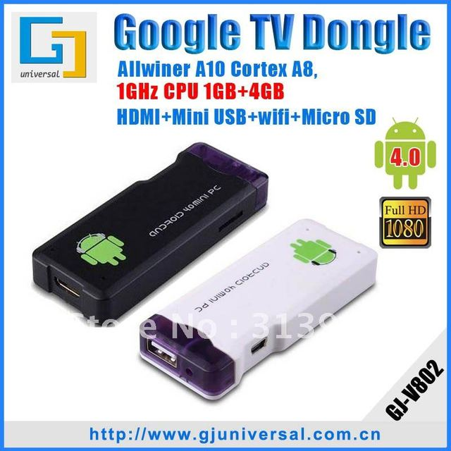 Hot Android 4.0 HDMI Android Stick HDMI Dongle, A10 ARM Cortex+1GHz+1GB+4GB, HD 1080P+WIFI+3D+Skype+MSN+Facebook+YouTube MK802