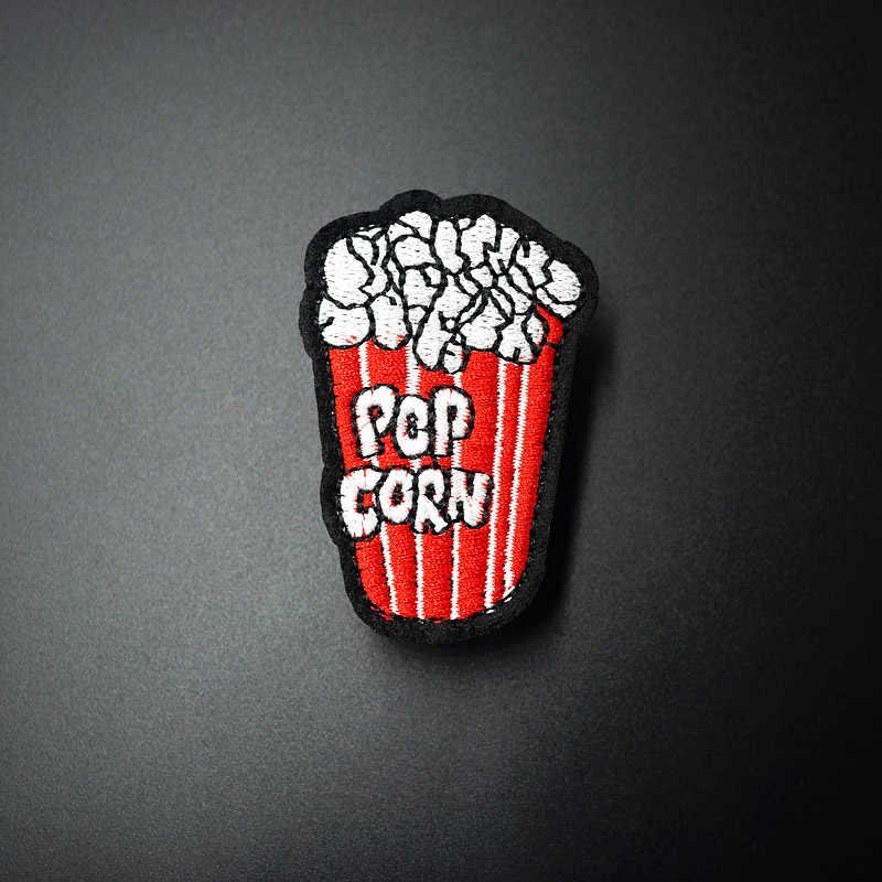 1 Stks POPCORN (Size: 4.6x6.2 cm) Doek Badge Mend Versieren Borduren Patch Jeans Bag Kleding Apparel Naaien Decoratie Applique