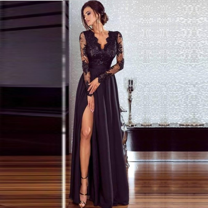 Long Sleeves V Neck Evening Dresses Sexy Side Slit Lace Formal Women Prom Dress Gown In Stock