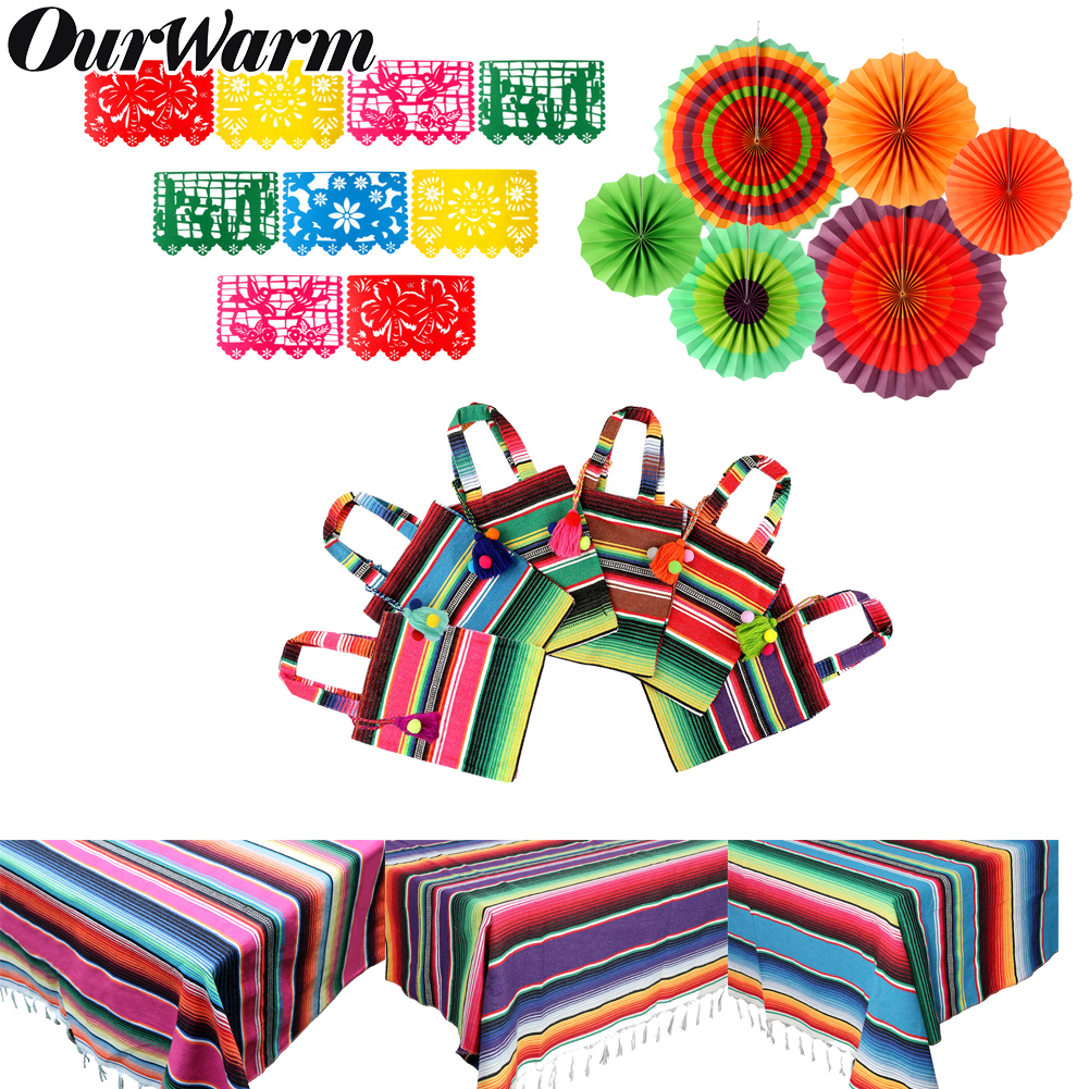 OurWarm Mexican Party Supplies Tablecloth Table Runner Travel Serape Felt Banner Paper Fan For Wedding Birthday Party Decoration