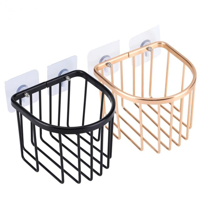 Modern Bathroom Roll Paper Holder Suction Round Toilet Tissue Storage Basket Shelf