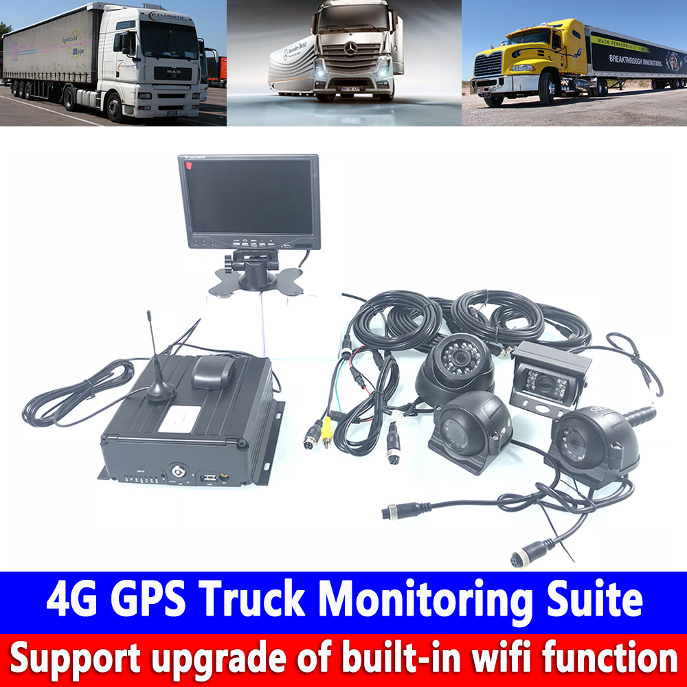 HD 960P Pixel Audio And Video 4-channel Monitoring SD Card Host 4G GPS Truck Monitoring Kit School Bus / Commercial Vehicle