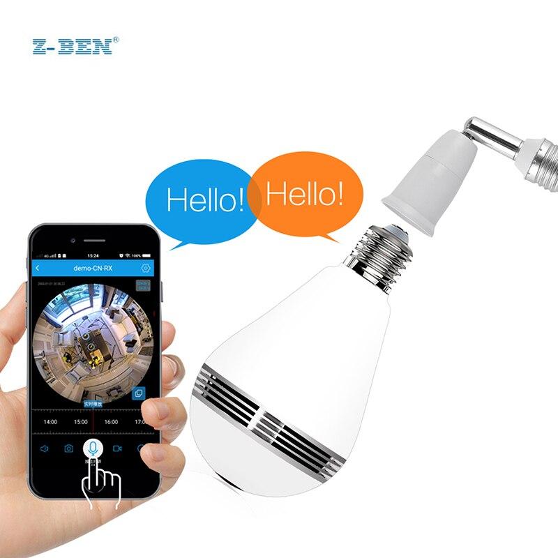 Ampoule lampe sans fil IP caméra Wifi 960 P réseau panoramique FishEye sécurité à domicile CCTV caméra 360 degrés Vision nocturne soutien 128 GB