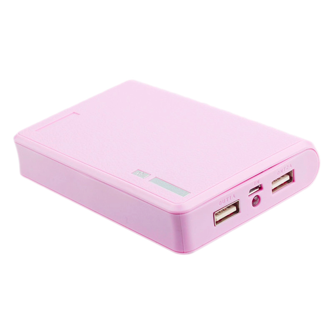 Portable USB Charger 5V 2A 18650 Power Bank Battery Box For iphone6 Smartphone Colour:Pink