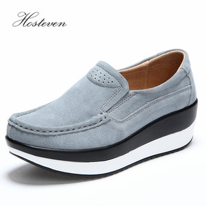 Image 4 - Hosteven Womens Shoes Flat Platform Female Shoe Woman Shoes Cow Suede Leather Spring Autumn Womens Loafers Moccasins