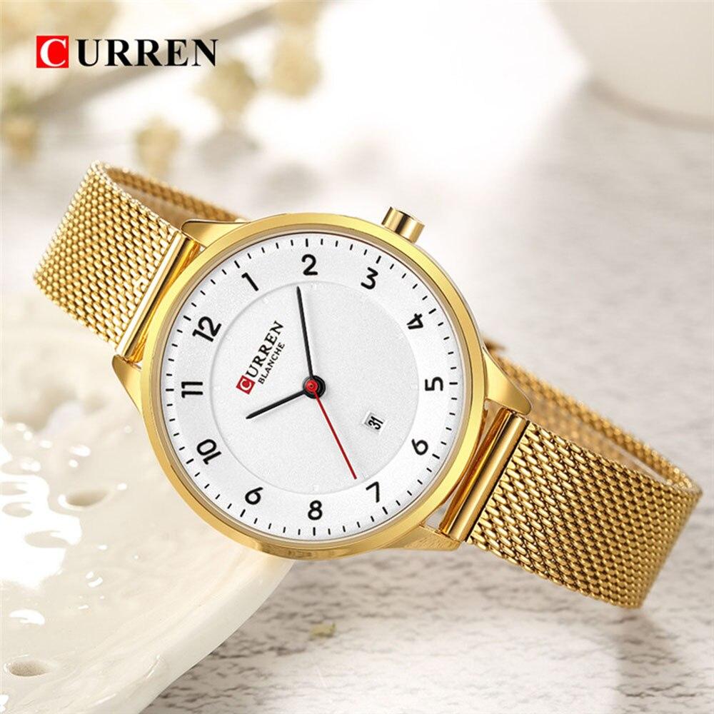 CURREN Gold Wrist Watch Women Watches Luxury Brand Steel Ladies Quartz Women Watches Sport Relogio Feminino Montre Femme 9035