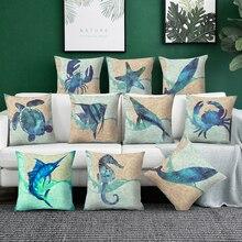 Sea Turtle Printed Cushion Cover Marine Ocean Seahorse Home Decor whale Pillowcase car fish decorative pillows