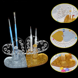 Professional Heart Round Makeup Nail Art 12 Holes Acrylic Gel Nail Brush Pen Holder Gold Rest Stand Display Brushes(China)
