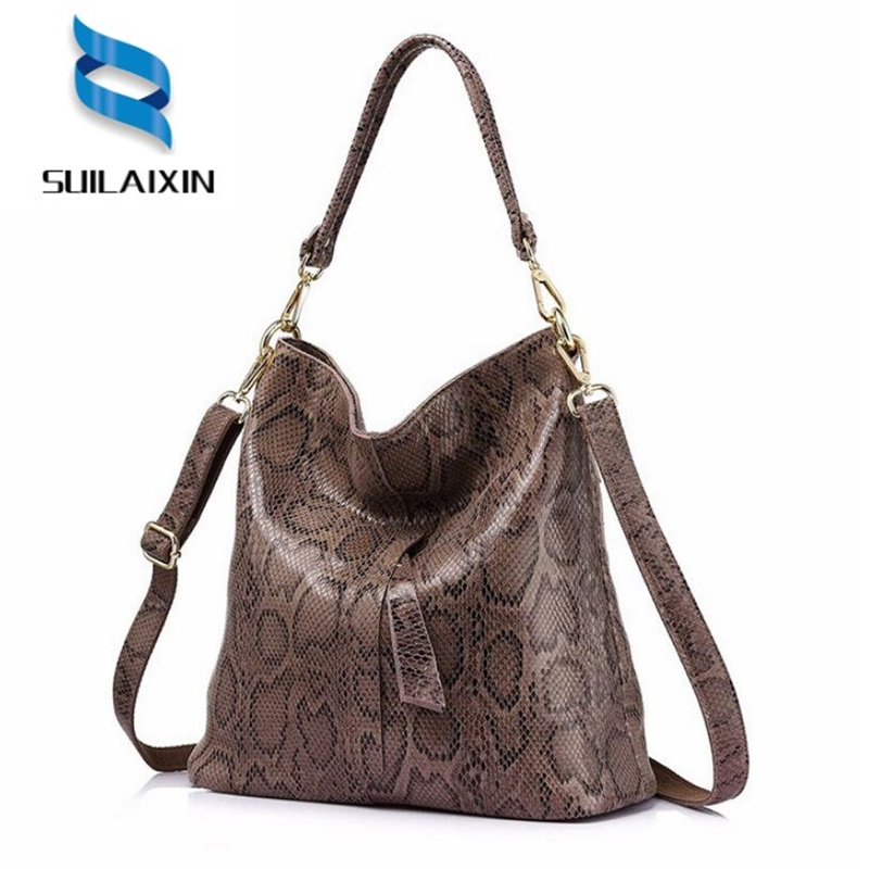 brand genuine leather women serpentine shoulder bags female handbags large capacity hobos Bag ladies casual tote bag smiley sunshine brand serpentine leather women handbags hobo tote bag female snake tassel big shoulder bags ladies crossobdy bag