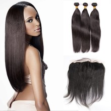8A Indian Virgin Hair Straight 3 Bundles with Frontal Closure Baby Hair Lightly Bleached Knots Beata Hair Products