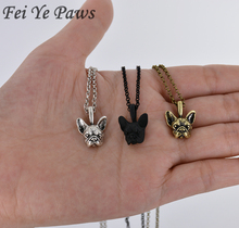 Fei Ye Paws Vintage French Bulldog Necklaces & Pendants Dog Choker Boho Necklace Anime for Women Men Jewelry Best Friend Gift