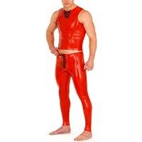 Латекс резиновая комплект одежды латекс Топы корректирующие с Леггинсы для женщин Латекс Рубашки для мальчиков для Для мужчин
