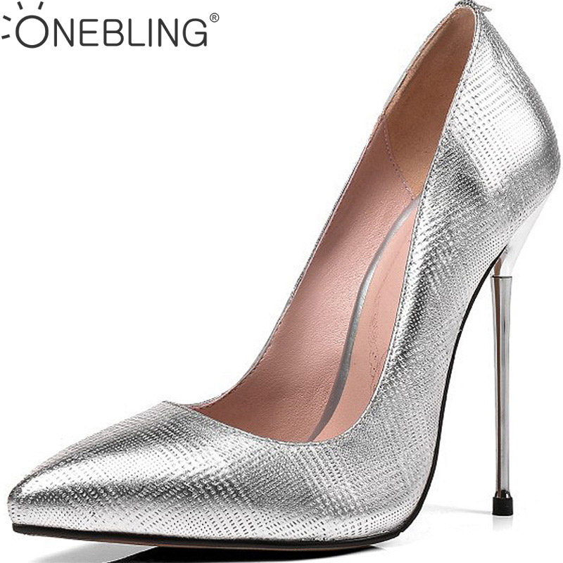 One Bling 12CM Super High Heel Shoes Fashion Genuine Leather Women Thin Heel Shoes Slip-On Pointed Toe Shallow Work Party Pumps stylish womens pointed toe animal print pumps party stilettos shoes plus new fashion female slip on thin heel super high heel