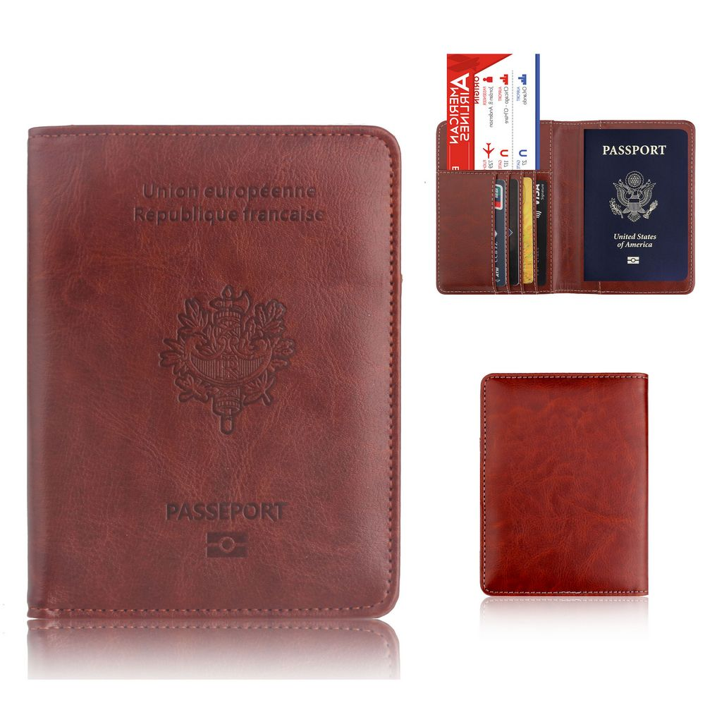 TRASSORY RFID Blocking France Passport Cover Bag Leather Fashion Travel Gallo French Passport Holder Case Wallet for Men Women wallet