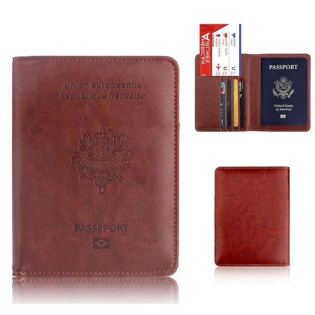 084cf45593b2 US $4.99  TRASSORY RFID Blocking France Passport Cover Bag Leather Fashion  Travel Gallo French Passport Holder Case Wallet for Men Women-in Card & ID  ...