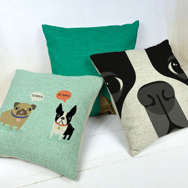 throw pillows for living room free shipping terrier decorative case sofa car bed cute dog cheap couch