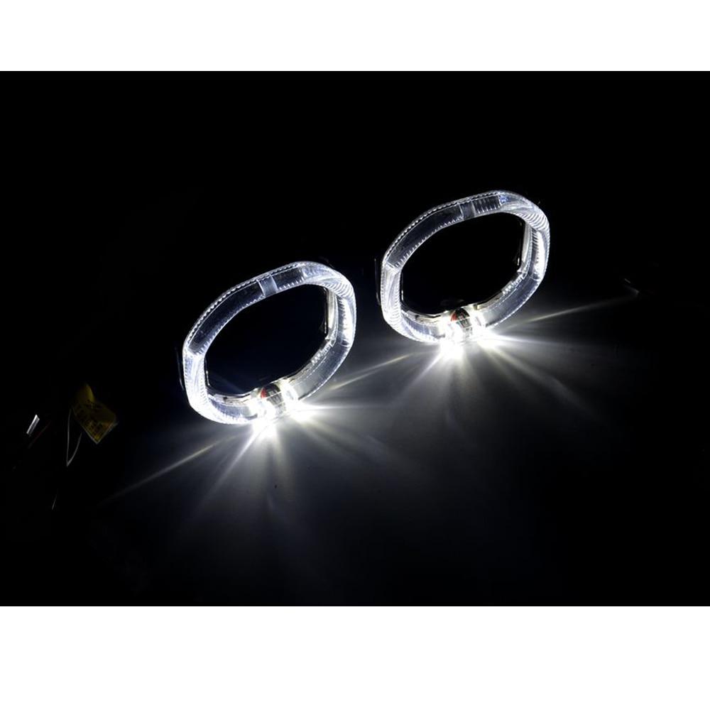 2pcs 2.5 inch led day running angel eyes bixenon hid Projector lens shrouds led mask car led headlight