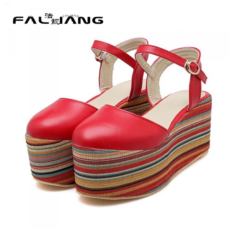 ФОТО 2017 Spring Autumn European Elegant Girls Casual Flat Platform Shoes Female Round Toe Stripe Dress Shoes Plus Size Free Shipping