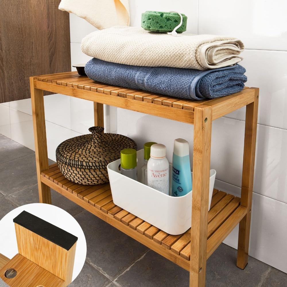 SoBuy FSR14 100 Bamboo Bathroom Shelf Shower Shelf Shoe Rack Storage