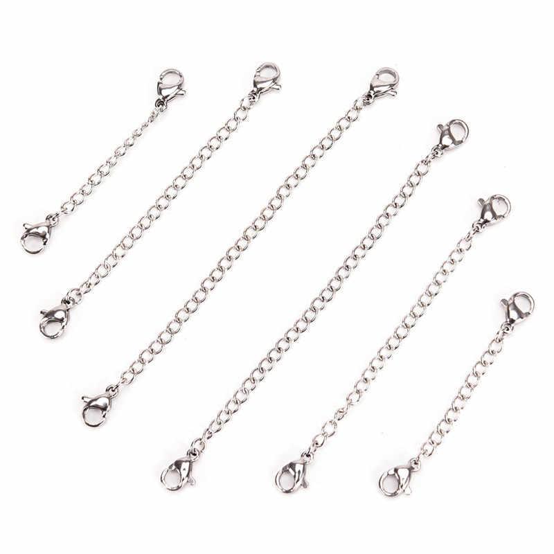 1 ud. 50mm/75mm/100mm Cadena de extensión DIY material para hacer joyas collar pulseras tobilleras color dorado y plateado