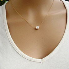 Luck Dog Women Simple Imitate Pearl Bib Choker Statement Collar Necklace Gold