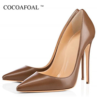 COCOAFOAL White Women's Wedding High Shoes Woman High Heels Shoes Plus Size 33 43 Fashion Sexy Party Pumps Autumn Black Apricot