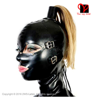 Sexy System Ponytail Latex Hoods Blindfold Mouth Cover Fetish Rubber Masks Zipper Without Wig Hair Pony