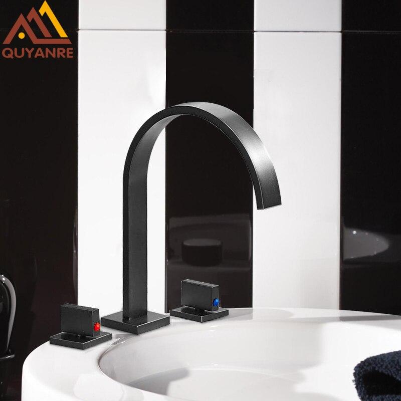 quyanre wanfan gappo orb blackend widespread basin faucet deck mounted 3 hole 2 handles mixer tap waterfall basin sink faucet