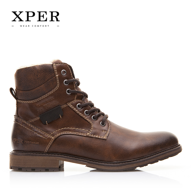 50a86214b8cdc0 Men Shoes XPER Brand Autumn Winter Motorcycle Men Boots High Cut Lace up  Warm Men Casual Shoes Fashion  XHY12509BR-in Motorcycle boots from Shoes on  ...