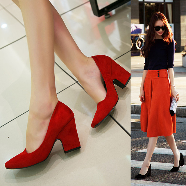 Korean High Heels Women Shoes 2017 Sweet  Wild Sexy Pointed  Toe Thick Heels  Four Seasons Shoes