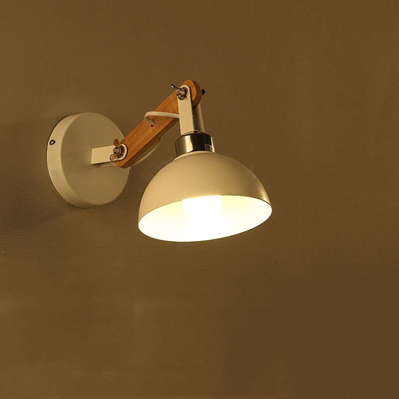 Creative retro wood wall light adjustable lighting fixtures bedroom living room stair bedside for Living room wall light fixtures