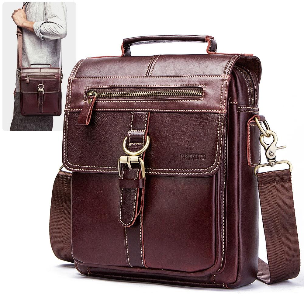 KAVIS 100% Genuine Leather Messenger Bags Men High Quality Handbag Bolsas Travel Brand Design Crossbody Shoulder Bag For Clutch Men messenger style bags cb5feb1b7314637725a2e7: Brown|coffee