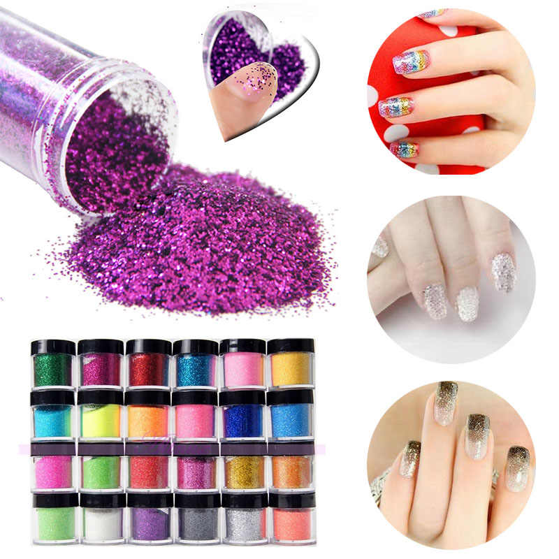 24Pcs Metal Nail Art Glitter Powder Dust Acrylic UV Gel Manicure Shinny Tips For Nail Unique Beauty Decoration 24pcs lot 3d acrylic nail glitter powder sequin carving pattern power dust round shape 3d nail art decoration manicure nail tool