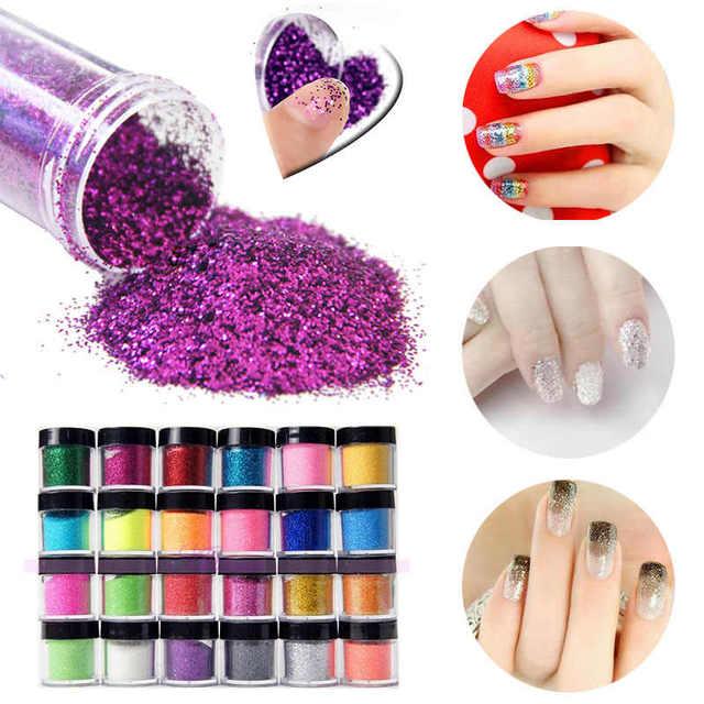 24pcs Metal Nail Art Glitter Powder Dust Acrylic Uv Gel Manicure